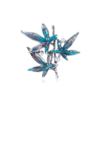 Glamorousky white Fashion and Elegant Blue Maple Leaf Brooch with Imitation Pearls 1F328ACAC5F941GS_1