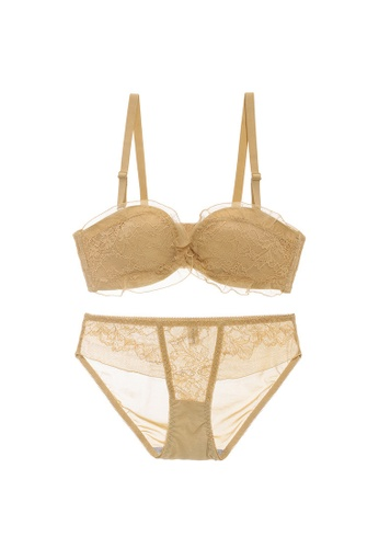 Midnight 黃色 Premium Lace Yellow Lingerie Set (Bra and Underwear) CADEDUSB8024D6GS_1