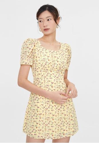 Pomelo yellow Floral Puff Sleeve Babydoll Dress - Yellow 4FB39AAAB02DA3GS_1