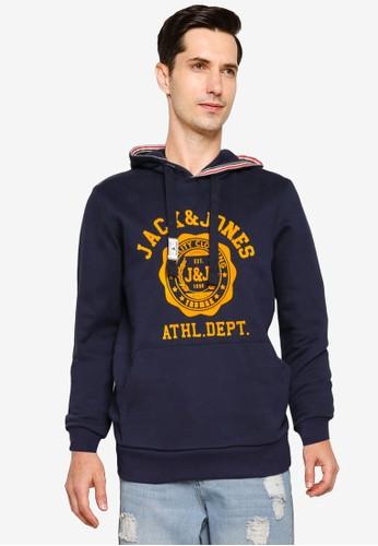 Jack & Jones navy Logo Sweat Hoodie BA0E3AAE91AA5FGS_1