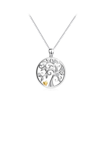 Glamorousky white 925 Sterling Silver Fashion and Elegant Tree Of Life Geometric Round Pendant with Cubic Zirconia and Necklace 39057AC13A9B17GS_1