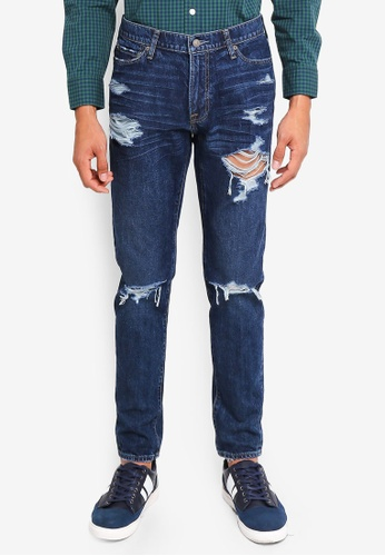 Abercrombie & Fitch blue Super Slim Dark Destroyed Jeans 778B2AAA8A7792GS_1