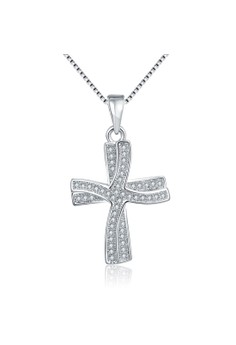 N001 Plated Double Cross Pendant Zircon Inlayed Necklace
