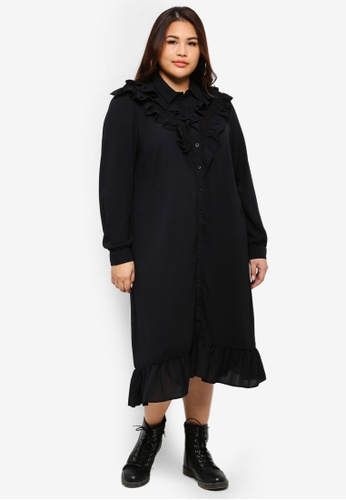 ELVI black Plus Size Luella Midi Victorian Shirt Dress DD084AACBA7139GS_1