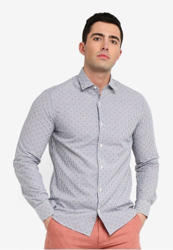 MANGO Man navy Slim-Fit Mixed Print Shirt BE76DAAC842EA1GS_1
