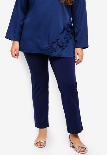 Gene Martino blue Plus Size Straight Cut Pants 23AF1AA7A57A51GS_1