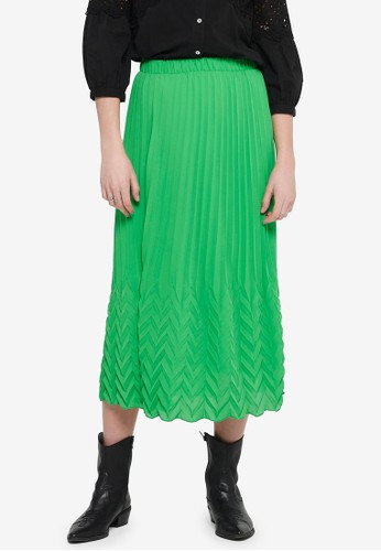ONLY green Kelina Textured Midi Skirt E4118AA52AF7F8GS_1