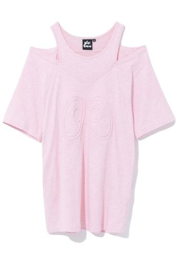 Mini cream pink Cold shoulder embossed tee 5BE43AA29DA7CBGS_1