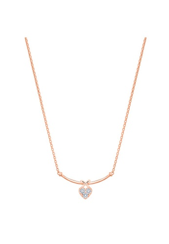 MaBelle red 18K 750 Rose Gold Diamond Heart Necklace 81ED7AC6FF043DGS_1