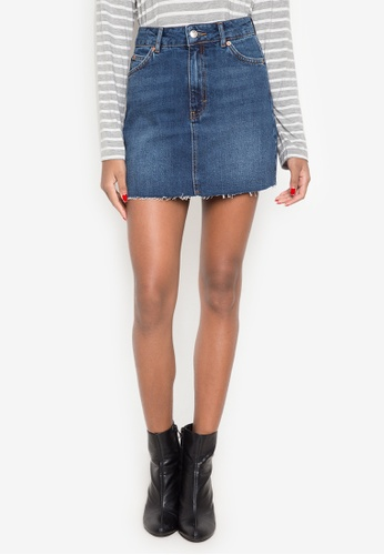 TOPSHOP blue Moto Denim Mini Skirt TO099AA0JP71PH_1