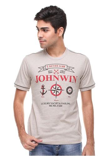 Johnwin beige Johnwin - Slim Fit - Kaos Casual Active - Gambar Sablon - Cream JO804AA91CXGID_1