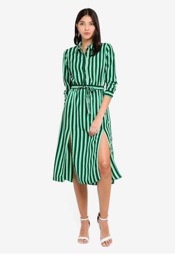 7c76dbce85ab Buy Miss Selfridge Green Stripe Midi Dress Online on ZALORA Singapore