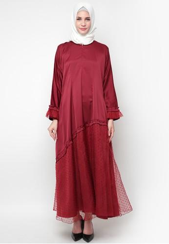 JV Hasanah red Sahara Snow Dress 70670AA70EE1DAGS_1