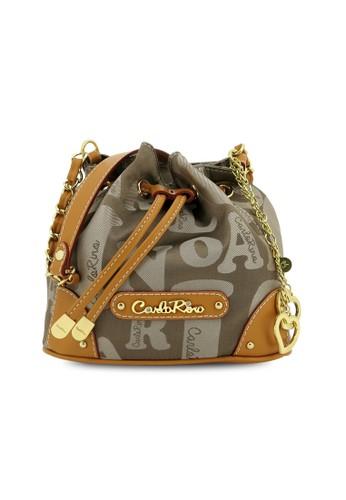 Carlo Rino Small Signature Brown Bucket Bag