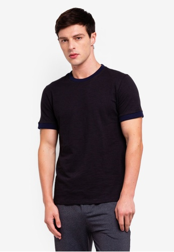 6c966979b6 UniqTee black Slim Fit T-shirt With Contrast Neck And Cuff  4FA40AAA50ACFFGS_1