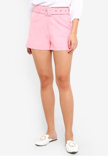 ZALORA pink Belted Shorts BE63FAAF8B69BBGS_1