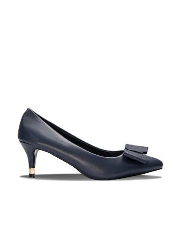 SEMBONIA blue Synthetic Bow Tie Heels (Dark Blue) SE598SH0RC14MY_1