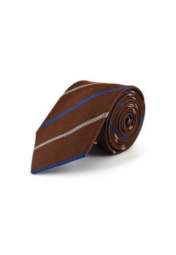 Gay Giano brown Striped Silk Tie F4661ACB3311B8GS_1