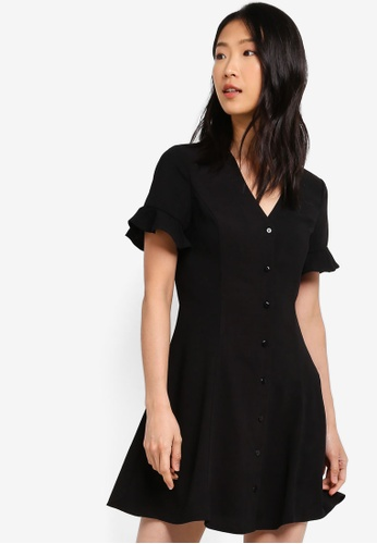 Basic Button Fit And Flare Dress