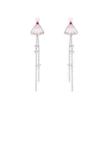 Glamorousky white 925 Sterling Silver Fashion Temperament Shell Folding Fan Tassel Freshwater Pearl Tassel Earrings with Cubic Zirconia 46AC8AC96CC2E5GS_1