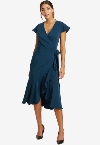 REUX green Mia Midi Wrap Dress 5D687AA4D5E142GS_1