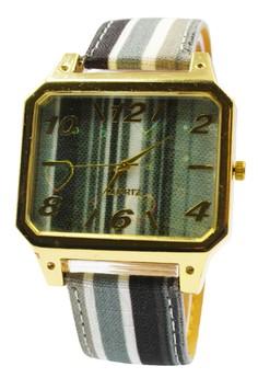 Ladies' Stripes Leather Strap Watch 004