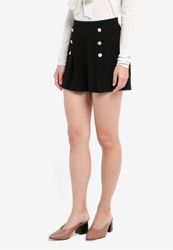 Lipsy black Button Front Pleated Shorts DEC26AA9F63FA8GS_1