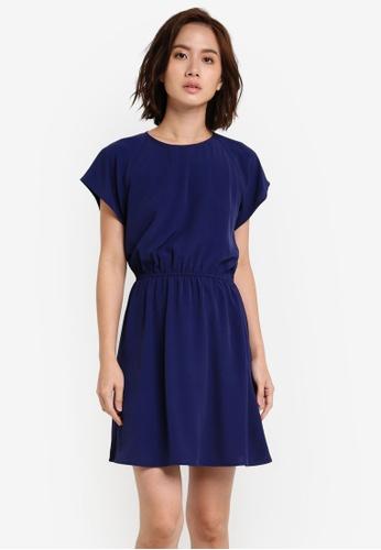 ZALORA navy Essentail Short Sleeve Fit And Flare Dress 3E4ACZZ0273D05GS_1