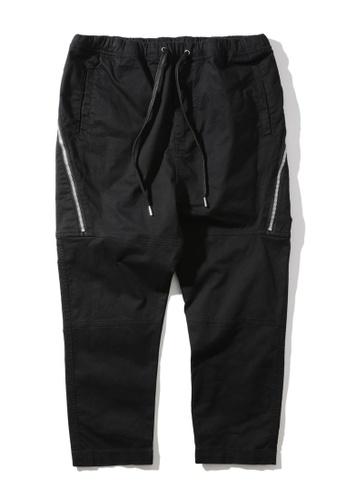 MUSIUM DIV black Zip detail drawstring pants FD335AA98FB1BEGS_1