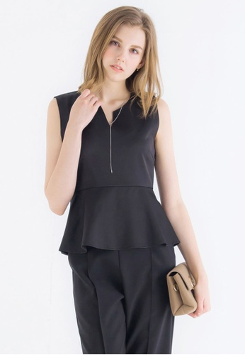 Kodz black Sleeveless Peplum Top KO698AA0ROYNMY_1
