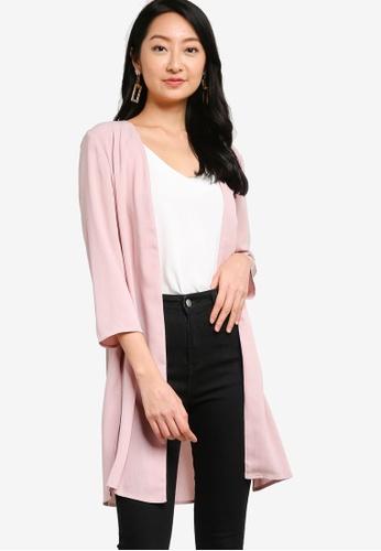 ZALORA BASICS pink Kimono Cardigan With Side Slits F1116AA71BABF9GS_1