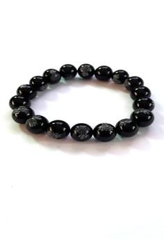 Feng Shui Obsidian Black Onyx Mantra Bracelet