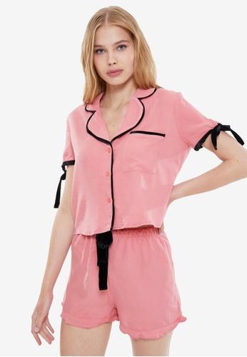 Trendyol 粉紅色 Collar Detail 睡衣組 17AA0AA6282A60GS_1