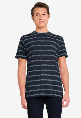 Springfield 藍色 民俗風條紋T恤 C1D43AA7304AA6GS_1