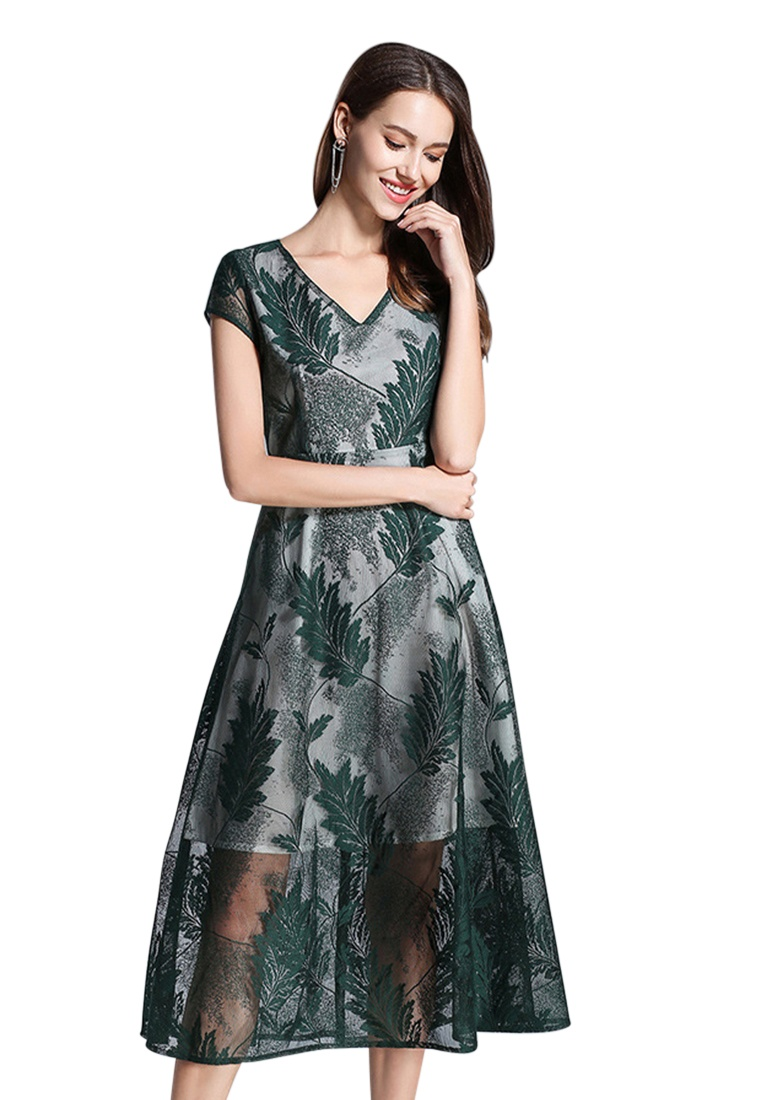 Sleeve Green New A060418GR One 2018 Short V Lace flared Green Sunnydaysweety Dark Piece Neck Dress Rn76w0Zq