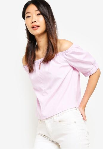 Something Borrowed pink Off Shoulder Top 9CE2DAA2A7683CGS_1
