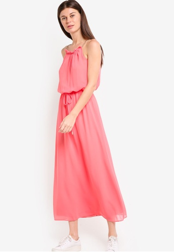 Dorothy Perkins pink Petite Coral Chain Maxi Dress DO816AA77POWMY_1