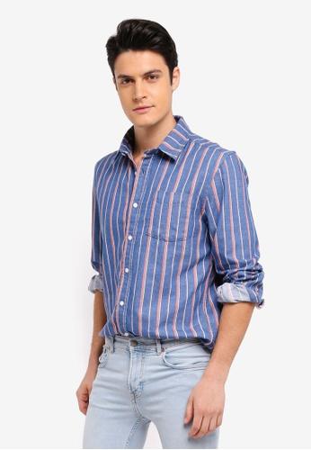 MANGO Man 藍色 長袖條紋襯衫 6C5B8AAD80F1D3GS_1
