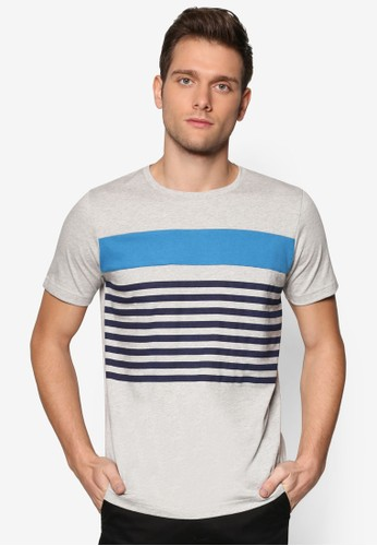 撞色條紋zalora 鞋評價設計TEE, 服飾, 條紋T恤