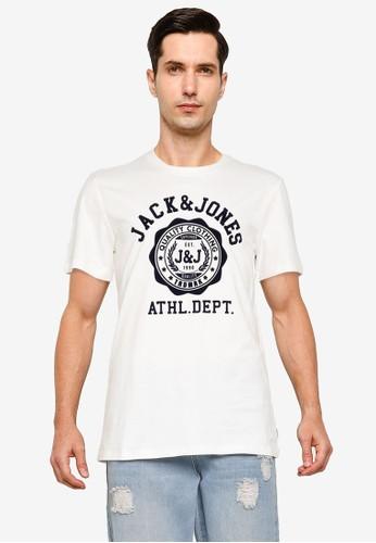 Jack & Jones white Flock Short Sleeves Tee 78837AA405502AGS_1