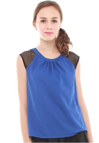 JOVET blue Mesh Sleeved Blouse JO914AA90NYRSG_1