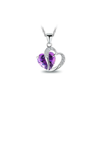 Glamorousky silver White Gold Plated 925 Sterling Silver Heart-shaped Pendant with Purple Cubic Zirconia and 45cm Necklace D6F06AC7F48934GS_1