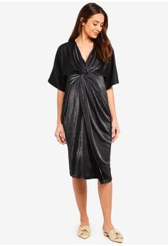 6ed68b0fb0 JoJo Maman Bébé black Maternity Sparkle Twist Wrap Dress 4E43CAAAA44552GS 1