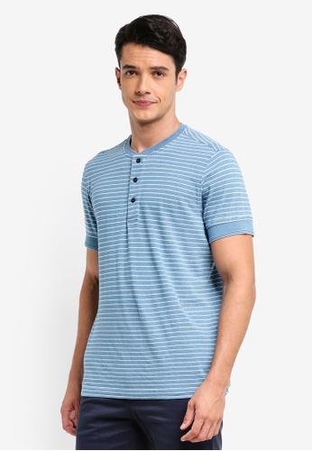 Brooks Brothers 藍色 短袖條紋T恤 0284DAAD3F60AFGS_1