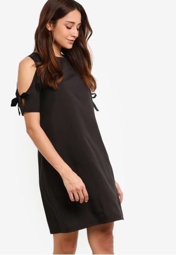 ZALORA black Round Neck Lace Up Shift Dress B2957AAC19B6E2GS_1