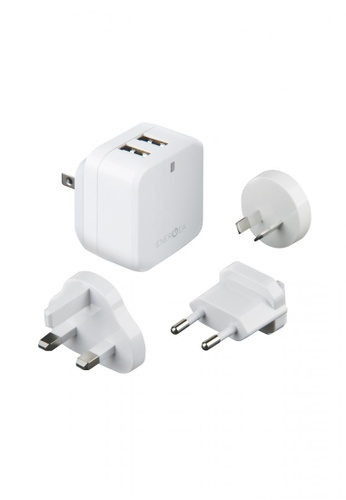 Energea white Energea Travelworld 3.4, 2 USB Wall Charger Pack 3.4A (US/UK/EU/AU ADAPTOR) - White CE603ES7A6AB9CGS_1