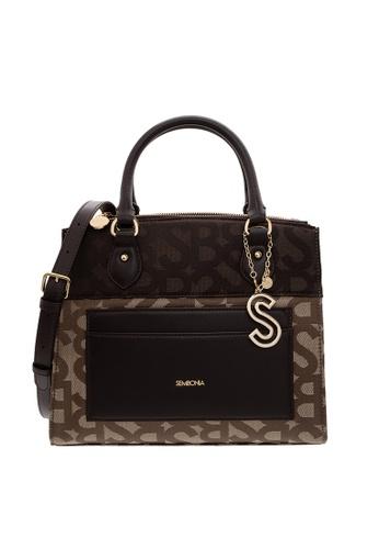 SEMBONIA brown SEMBONIA Jacquard Trimmed Leather Satchel Bag (Dark Brown)  FF73EACE2DC3BDGS 1 e4f41e948dc93