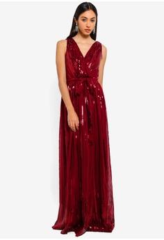 0aef54b9f63 Goddiva red Sequined Chiffon Maxi Dress With Belt 005FFAAAA6F4E8GS 1