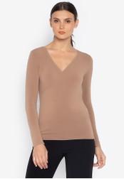 Susto The Label beige Eileen Knit Wrap Top 9EEA0AACD54824GS_1