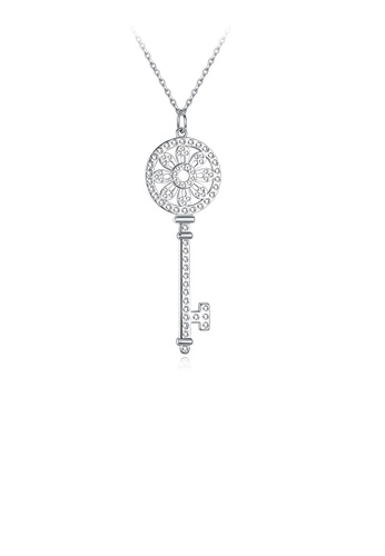 Glamorousky white 925 Sterling Silver Elegant Key Pendant with Austrian Element Crystal and Necklace 3FF5EACA357A8FGS_1
